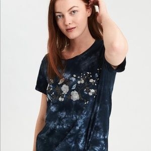 American Eagle Tie Dye Floral Embroidered T-Shirt